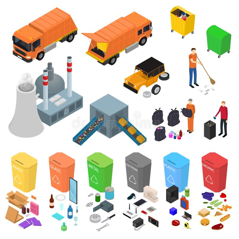 Garbage Recycling Signs 3d Icons Set Isometric View. Vector. Garbage Recycling Signs 3d Icons Set Isometric View Include of Bin, Trash, Truck and Factory. Vector vector illustration