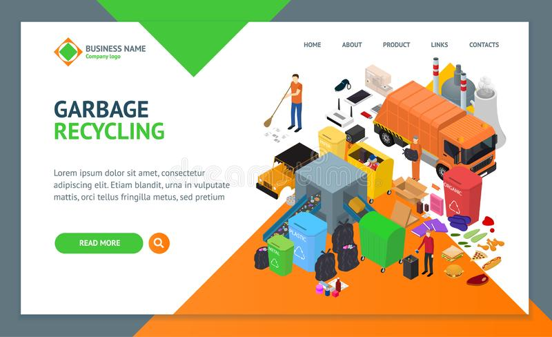 Garbage Recycling Signs 3d Landing Web Page Template Isometric View. Vector. Garbage Recycling Signs 3d Landing Web Page Template Isometric View Include of Bin royalty free illustration