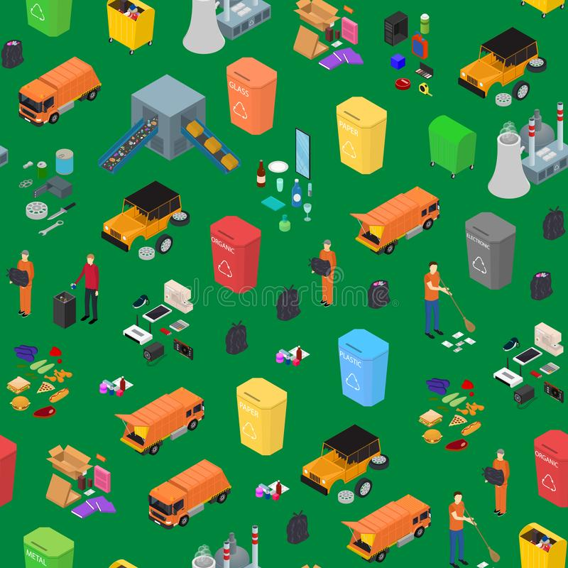 Garbage Recycling Signs 3d Seamless Pattern Background Isometric View. Vector. Garbage Recycling Signs 3d Seamless Pattern Background Isometric View Include of royalty free illustration