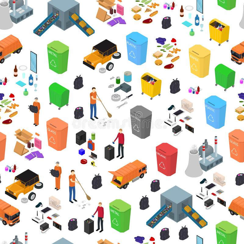 Garbage Recycling Signs 3d Seamless Pattern Background Isometric View. Vector. Garbage Recycling Signs 3d Seamless Pattern Background on a White Isometric View royalty free illustration