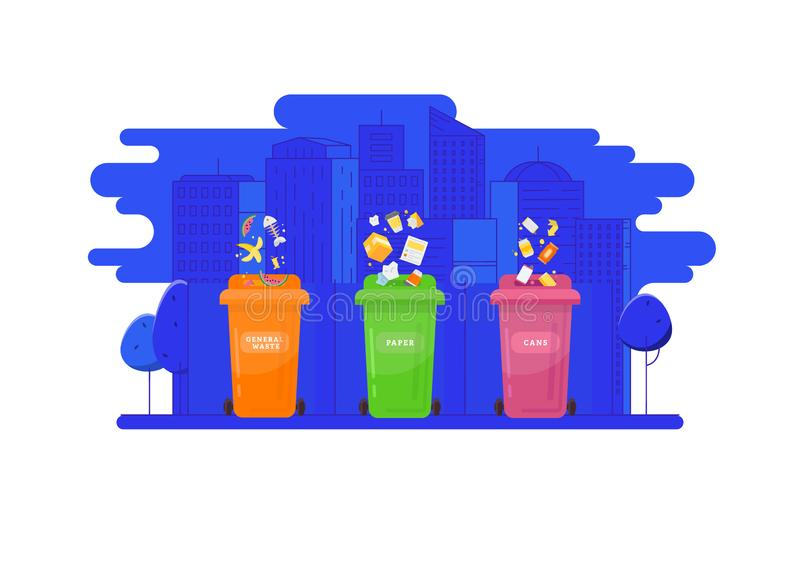 Garbage recycling and utilization concept. Collection of garbage cans with sorted garbage vector illustration