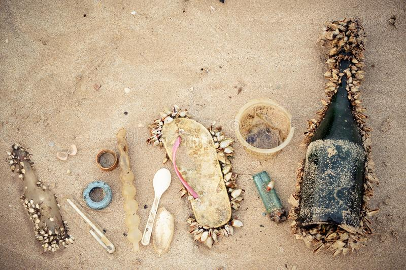 Garbage in the sea affecting marine lives. / Environmental problem concept stock photo