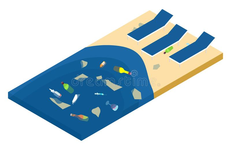 Garbage in the sea and on the beach, ocean pollution isometric vector concept vector illustration