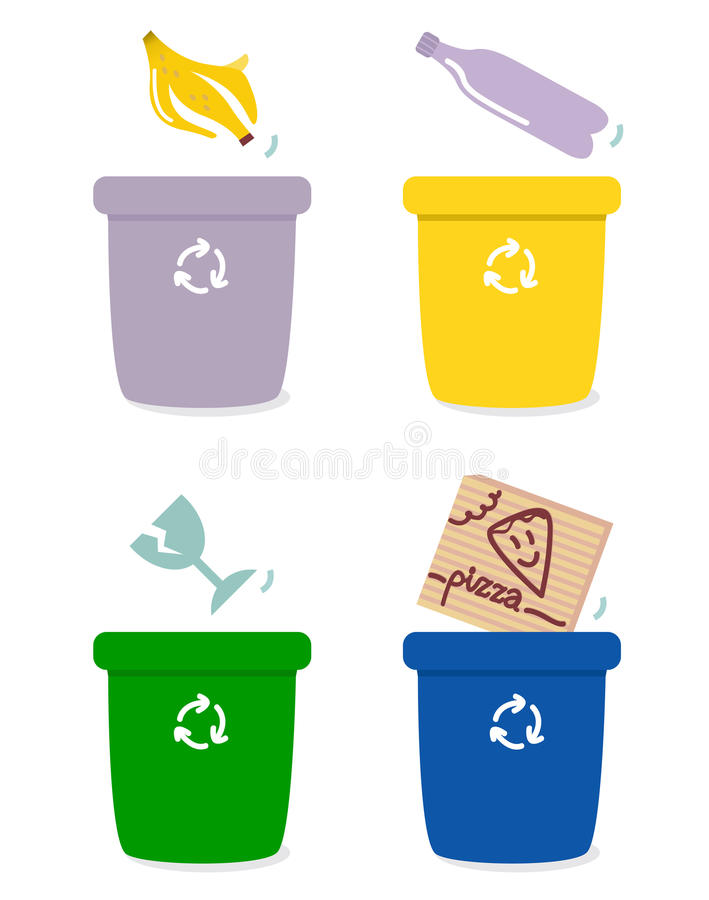 Garbage separation boxes by colors. The four separation boxes for common garbage. Vector Illustration stock illustration