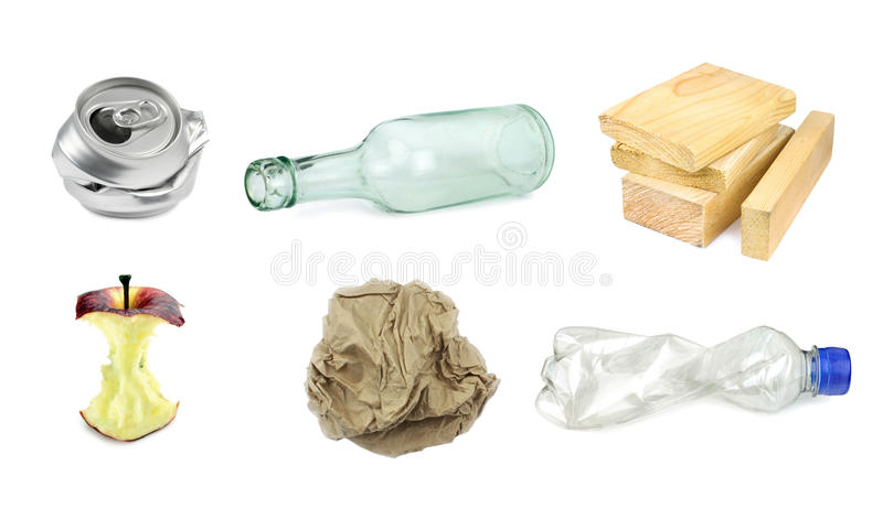 Garbage separation recycling stock images