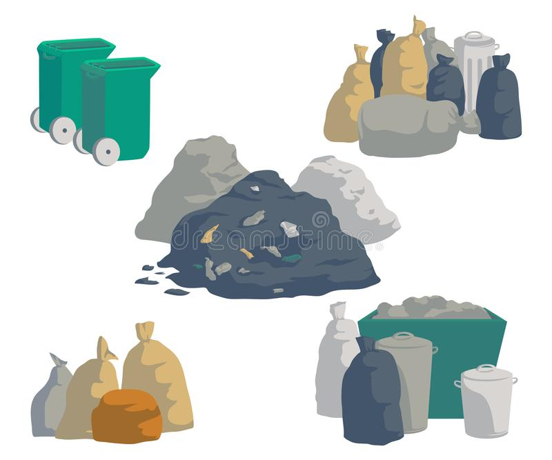 Garbage set. Bags, cans, bins, containers and pile of trash. Isolated objects on white background. Garbage recycling and utilizati stock illustration
