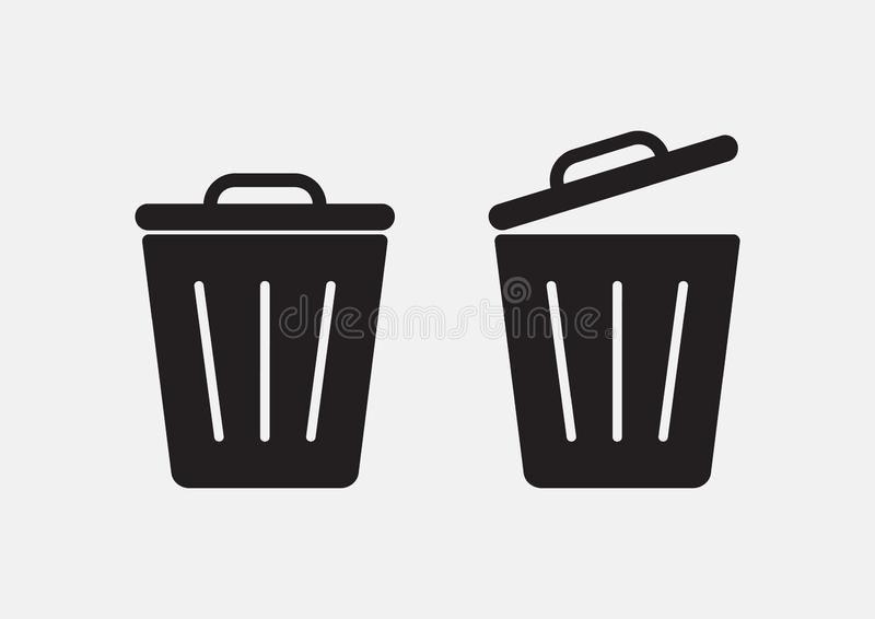 Garbage. Set of trash basket icon. Vector stock photography