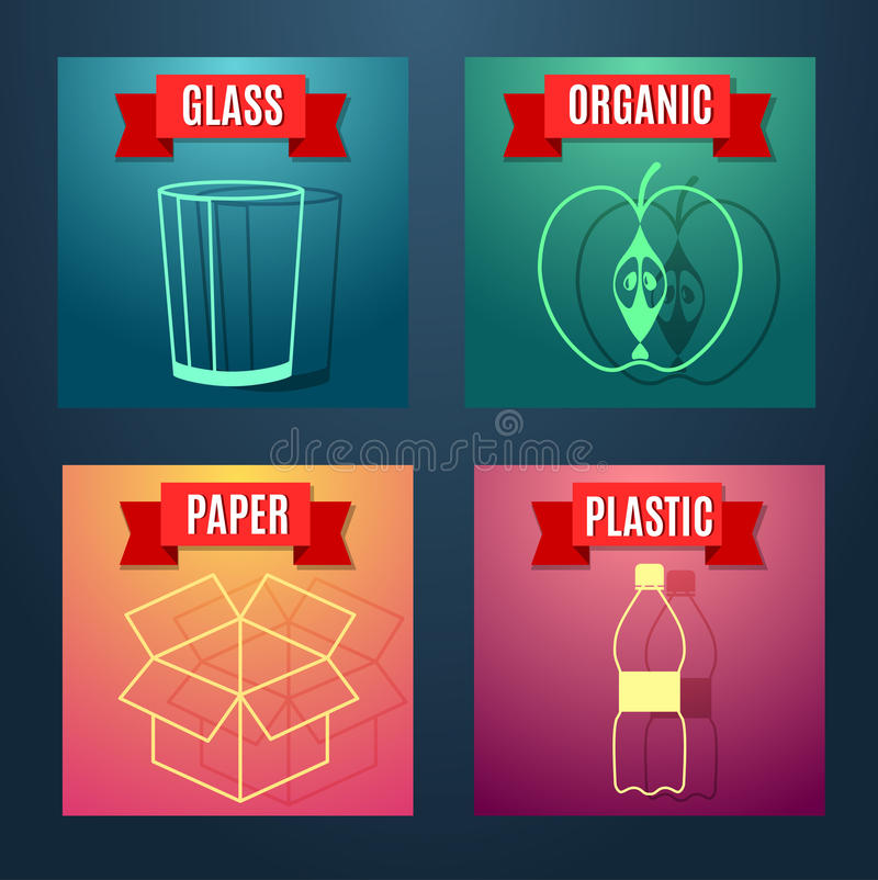 Garbage sorting flat icon with images symbols and text royalty free illustration