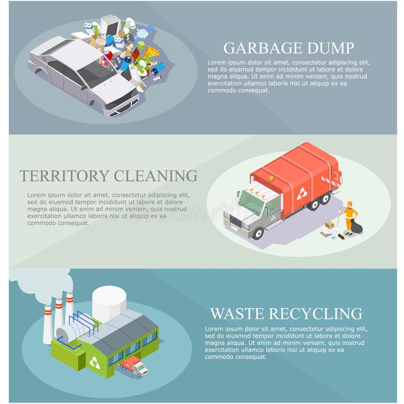 Garbage sorting and recycling vector isometric banner set royalty free illustration