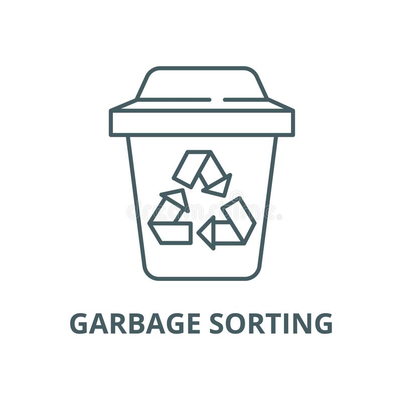 Garbage sorting vector line icon, linear concept, outline sign, symbol vector illustration