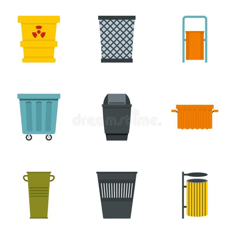 Garbage storage icon set, flat style vector illustration