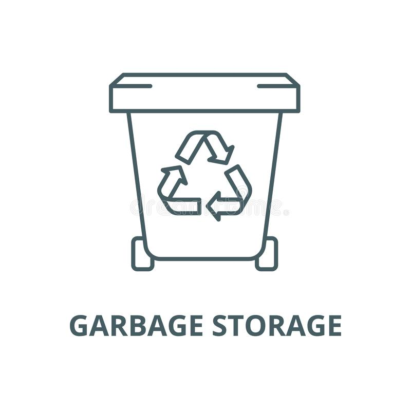 Garbage storage vector line icon, linear concept, outline sign, symbol stock illustration
