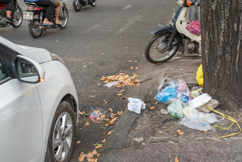 Garbage in the street of Ho Chi Minh City stock image