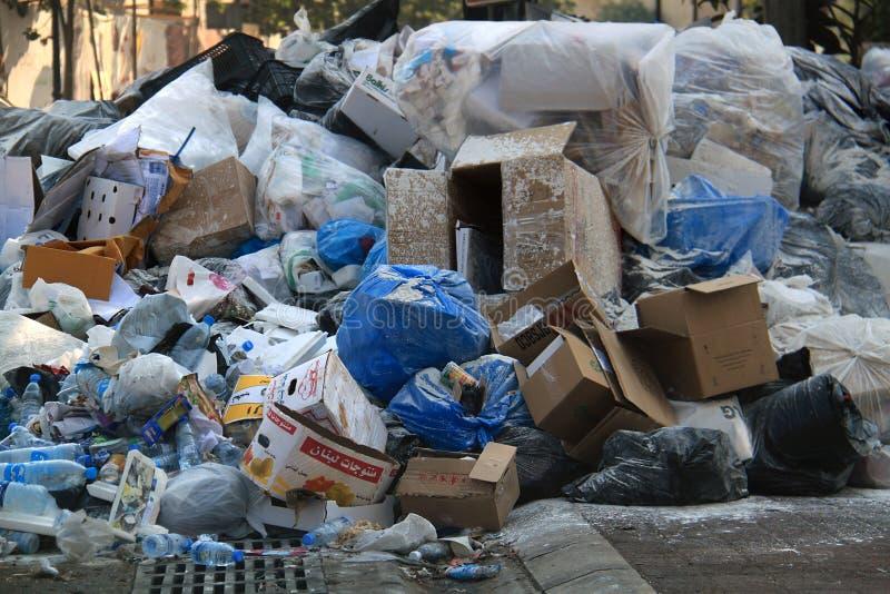 Garbage in the Street, Lebanon stock image