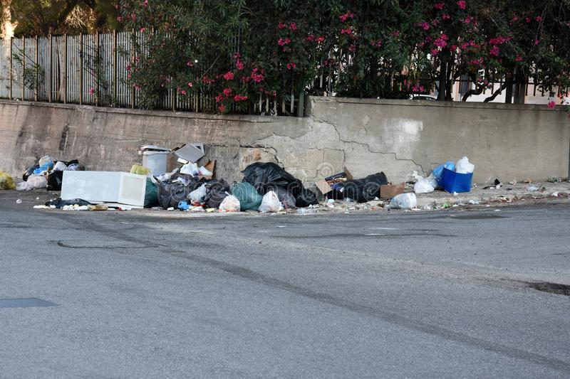 Garbage in the streets of Italy stock image