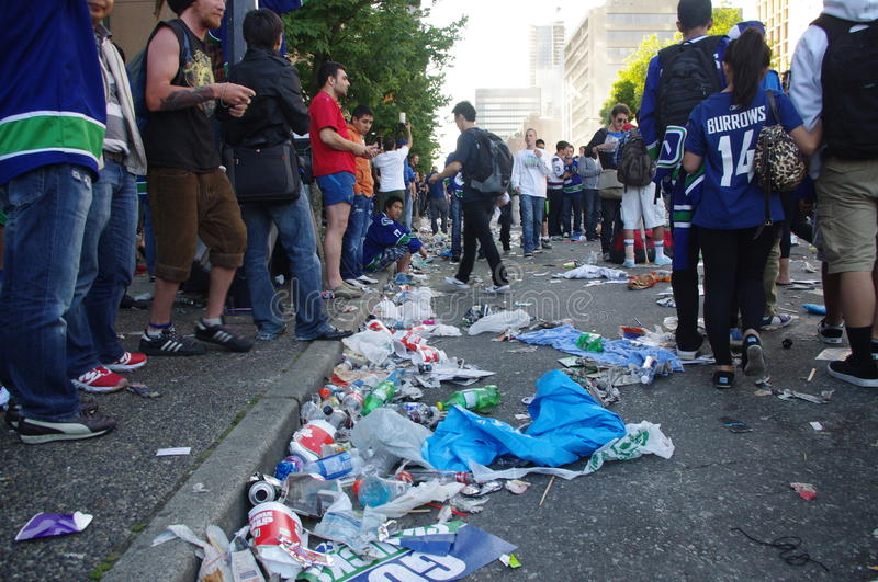 Garbage on the streets of Vancouver stock image