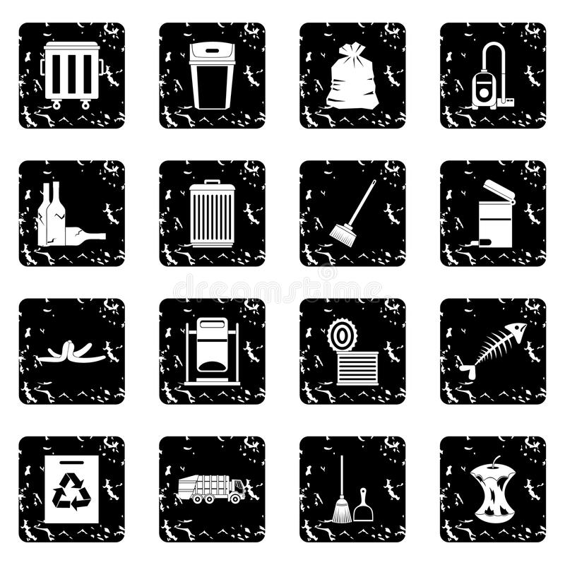 Garbage thing icons set. In grunge style isolated on white background vector illustration royalty free illustration