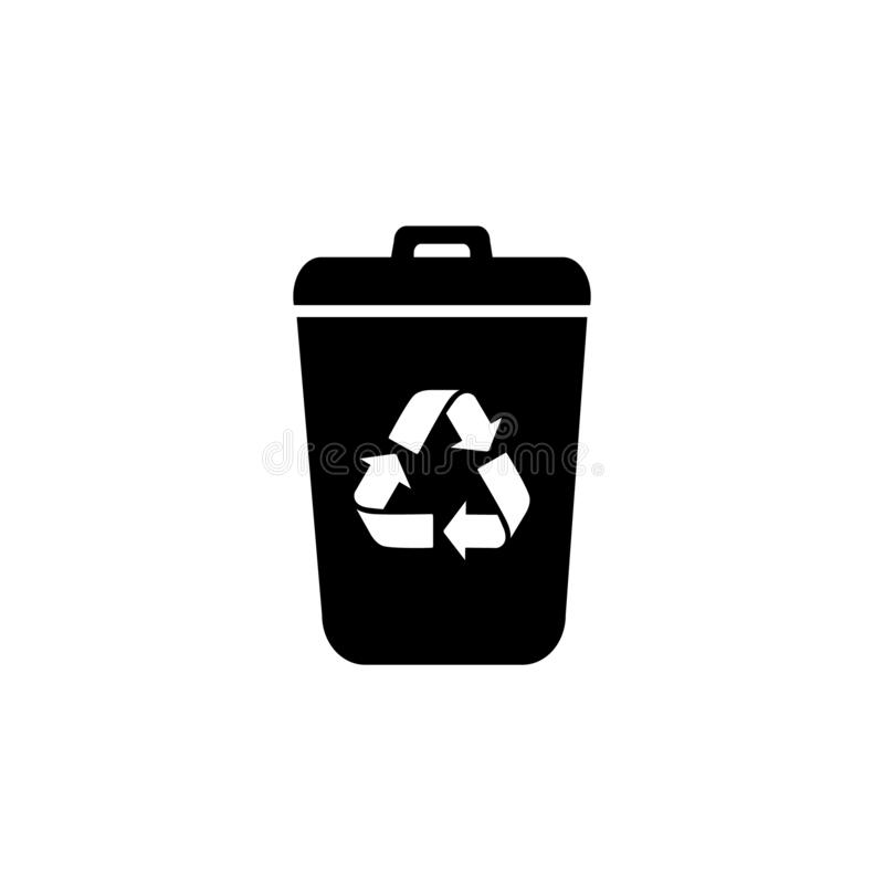 Garbage Trash can Vector Icon. Eco Bio concept, recycling. Flat design illustration isolated on white background. Black vector illustration