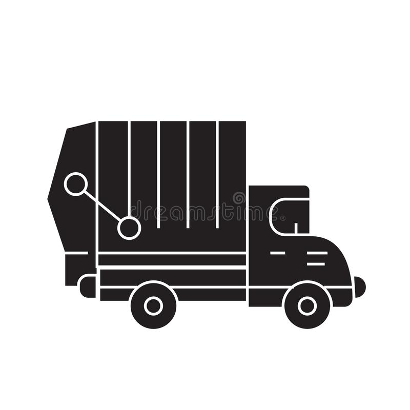 Garbage truck black vector concept icon. Garbage truck flat illustration, sign stock illustration