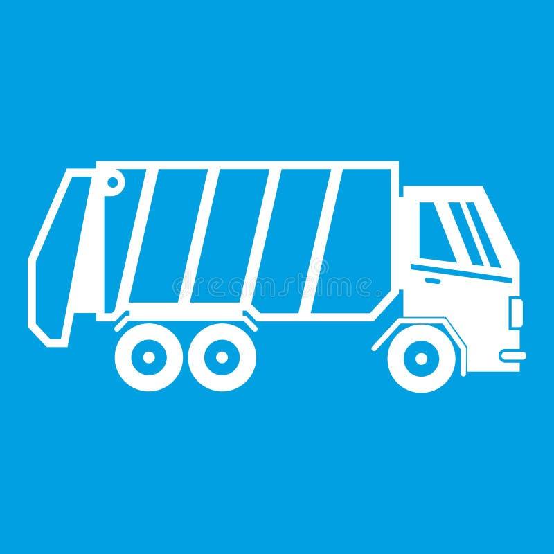 Garbage truck icon white vector illustration