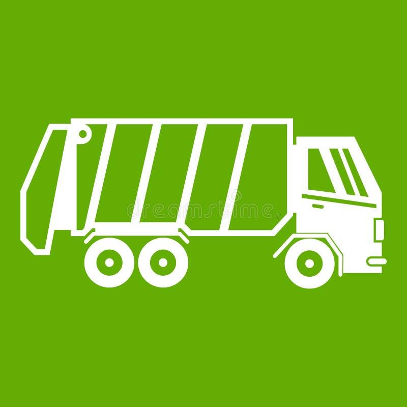 Garbage truck icon green royalty free illustration