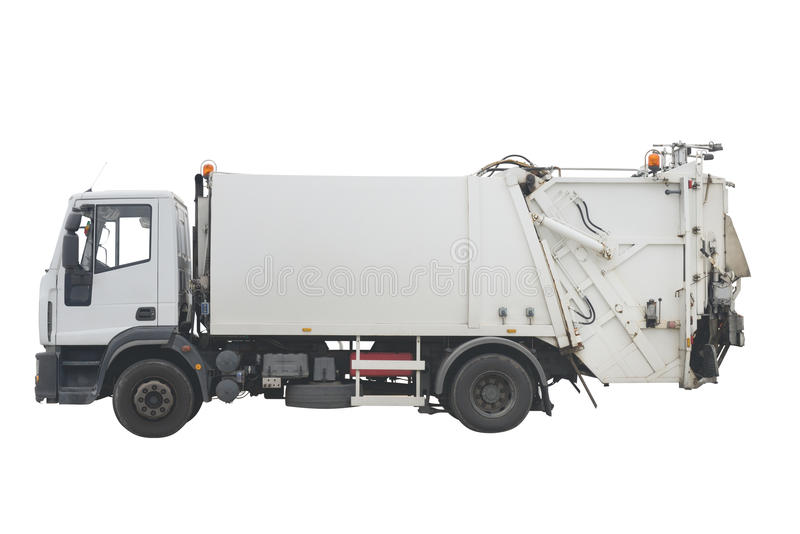 Garbage truck isolated on white background. Image of garbage truck isolated on white background stock photo