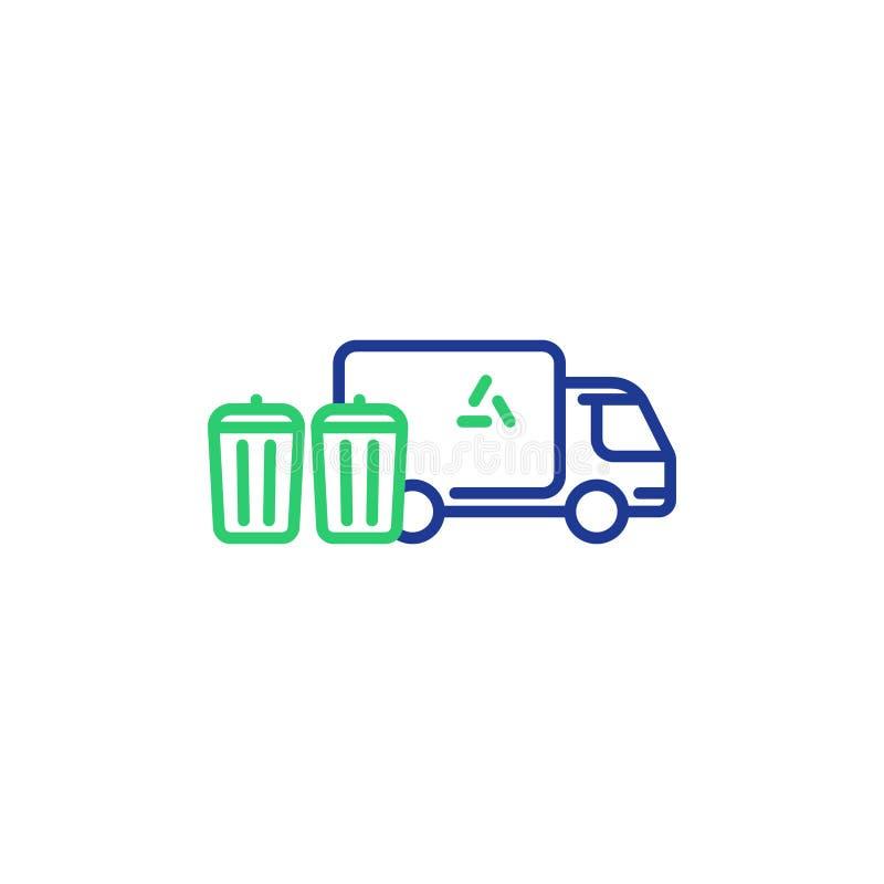 Garbage truck line icon, trash disposal services, waste bins royalty free illustration
