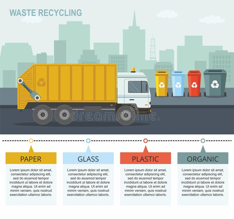 Garbage truck picking up recycle trash bin. Rubbish bins for recycling different types of waste on city background. royalty free illustration