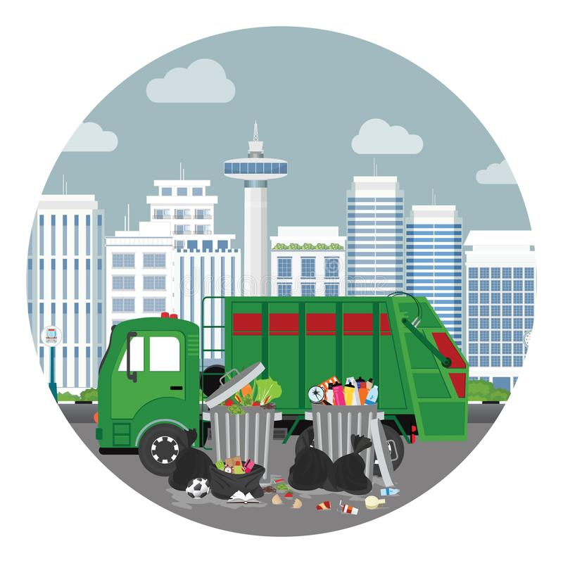 Garbage truck and plastics garbage can full of overflowing trash stock illustration