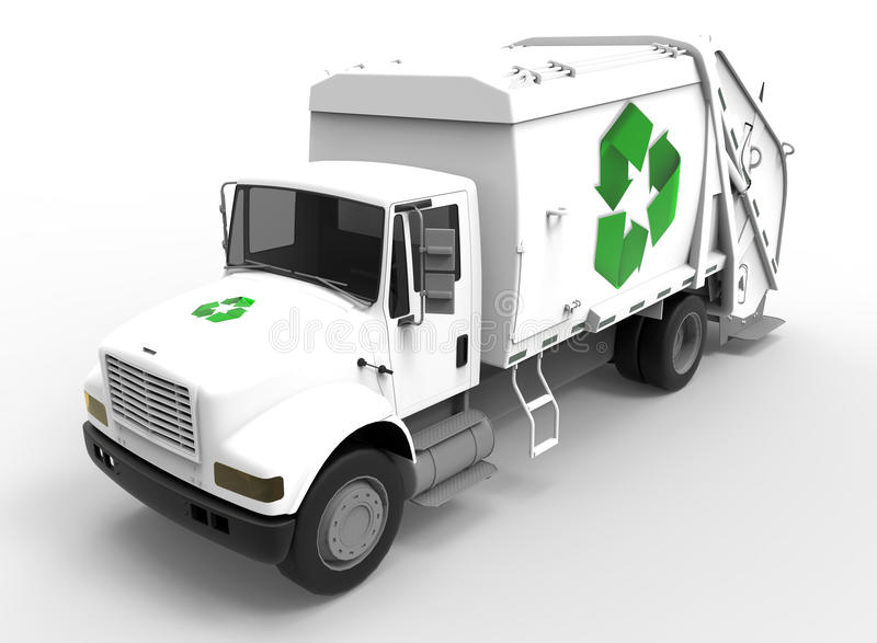 Garbage Truck on white with shadows royalty free illustration