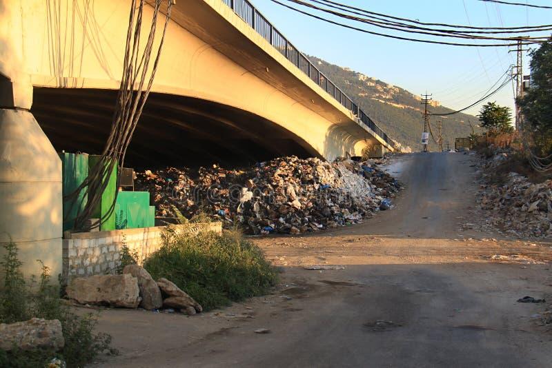 Garbage Under a Bridge, Lebanon royalty free stock photography