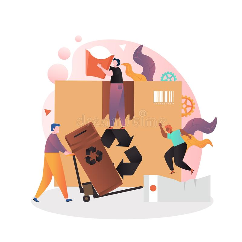 Garbage vector concept for web banner, website page. Tiny people pushing cart with brown trash can, collecting recyclable paper garbage big cardboard box, carton vector illustration