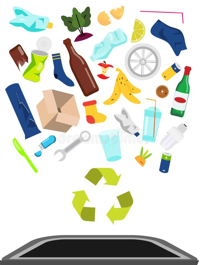 Garbage and waste fall into trash bin. Plastic, glass, organic and other household rubbish utilization, recycling. Garbage and waste fall into trash bin. Plastic stock illustration