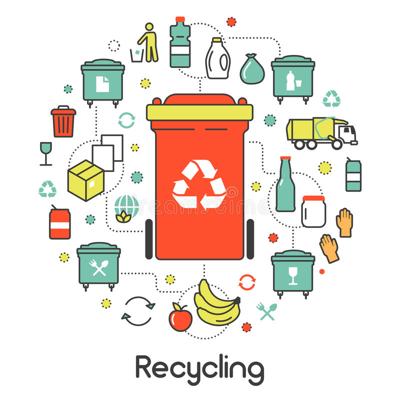 Garbage Waste Recycling Line Art Thin Icons royalty free illustration