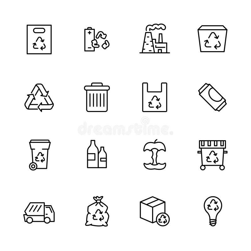 Garbagecollection en van de afvalverwijdering geplaatste pictogram eenvoudige symbolen r Het afval van het verwerkingsvoedsel en royalty-vrije illustratie