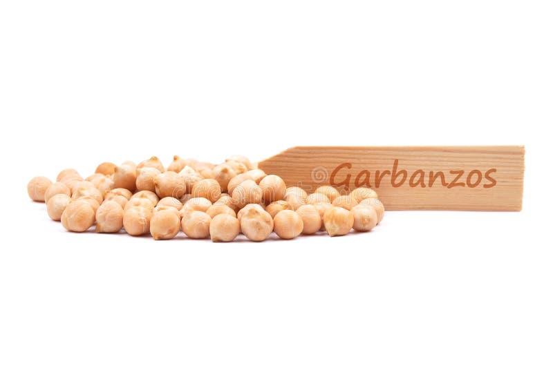 Garbanzos on white. Colorful and crisp image of garbanzos on white royalty free stock photos