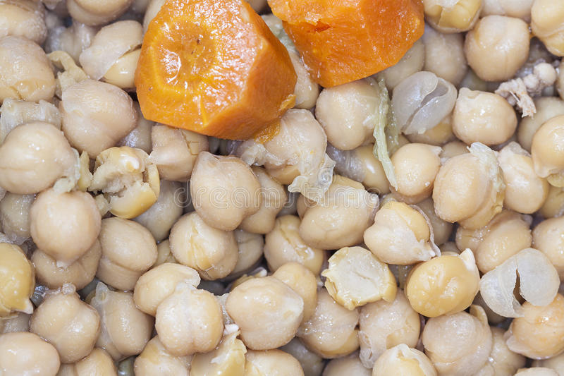 Garbanzos y Chorizo. Chickpeas and spicy sausage with red royalty free stock photos