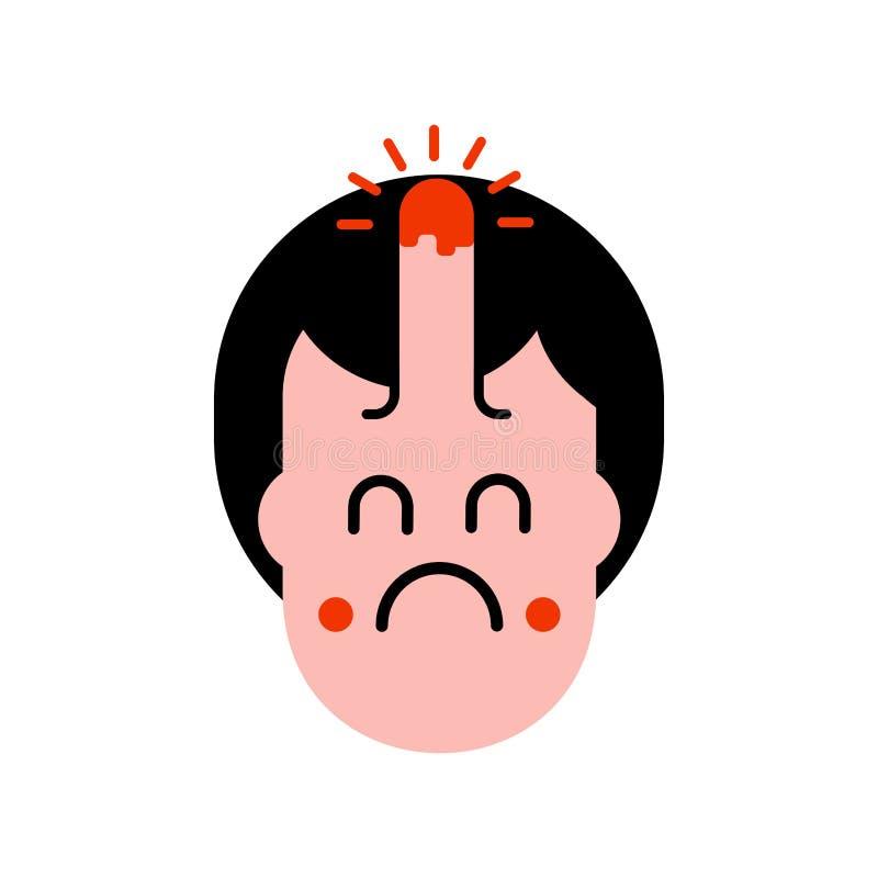 Garbek na głowie odizolowywającej Bólowa i żal twarz również zwrócić corel ilustracji wektora royalty ilustracja