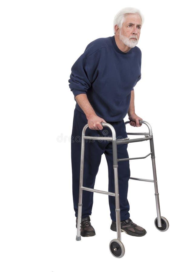 Garbiący się stary człowiek Z piechurem Odizolowywającym na bielu zdjęcie stock