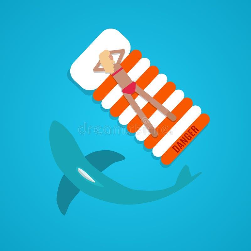 Garbnikujący dziewczyna rekinu mieszkanie ilustracja wektor