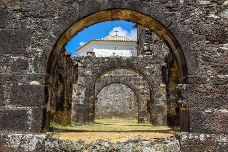 Garcia D`Avila castle remains and chapel near Praia do Forte, Brazil. Garcia D`Avila castle remains and chapel near Praia do Forte on Brazil royalty free stock photography