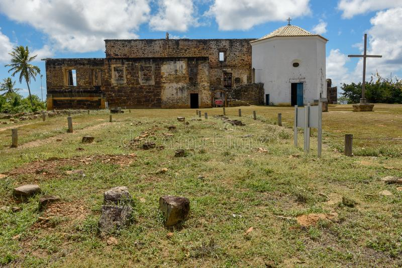 Garcia D`Avila castle remains and chapel near Praia do Forte, Brazil. Garcia D`Avila castle remains and chapel near Praia do Forte on Brazil royalty free stock photos