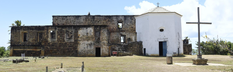 Garcia D`Avila castle remains and chapel near Praia do Forte, Brazil. Garcia D`Avila castle remains and chapel near Praia do Forte on Brazil royalty free stock photo