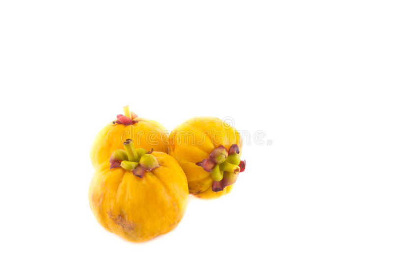 Garcinia amarillo en el fondo blanco imagen de archivo libre de regalías