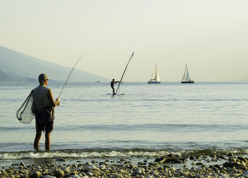 Garda lake fishing stock photo