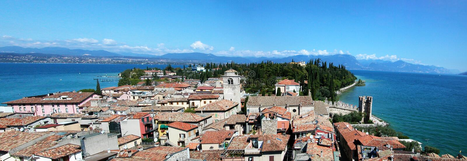 The Garda Lake in Italy. Panoramic view of the Garda Lake from Sirmione royalty free stock images