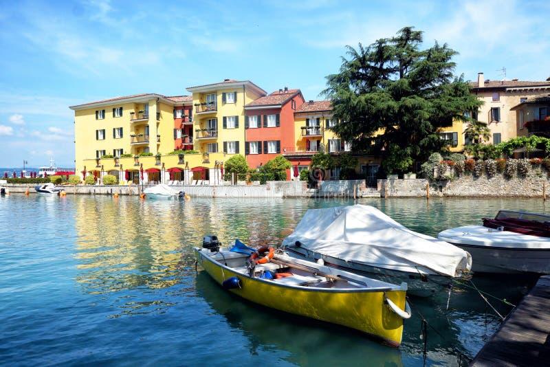 Garda lake, Sirmione. Boats on Garda lake in Sirmione. Italy stock photo