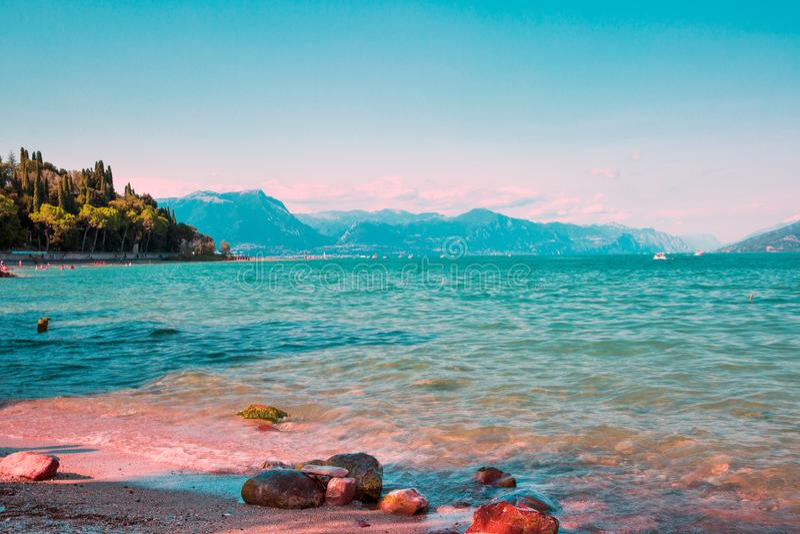 Garda lake, Sirmione, Italy. Lake Garda, Sirmione, Italy. Beautiful summer day stock images