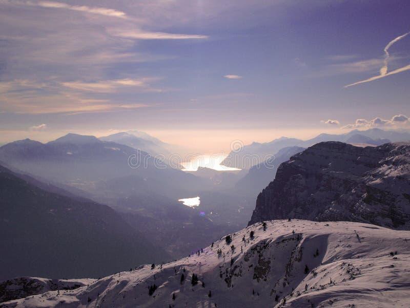 Garda See von der paganella Spitze stockbilder