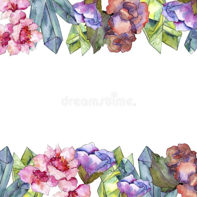 Gardania rosa e porpora Fiore botanico floreale Quadrato dell'ornamento del confine della pagina royalty illustrazione gratis
